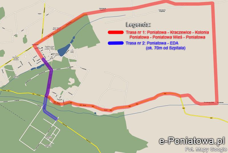 Mapa rozkładu tras komunikacji podmiejskiej