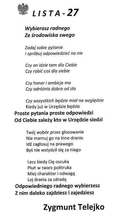 Broszurka wyborcza Zygmunta Telejko