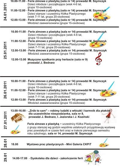 Plan ferii zimowych 2011 z CKPiT