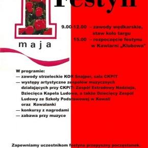 Plakat obchodów Święta 1 Maja w Poniatowej