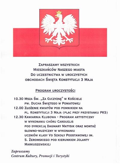 Plakat obchodów Święta 3 Maja w Poniatowej