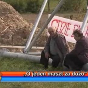 Protest przeciwko budowie masztu w Poniatowej