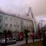 Pożar bloku w Poniatowej