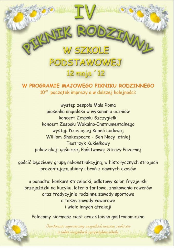 IV Piknik Rodzinny w Poniatowej - plakat