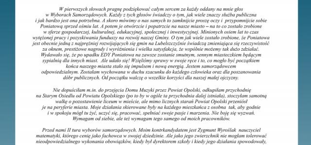 Kilka słów od redakcji e-Poniatowa.pl. Jak sami zauważyliście, od roku e-Poniatowa.pl jest w stanie wegetatywnym. Nie zmienia to jednak faktu, że w tak ważnym dla wszystkich mieszkańców dniu jakim jest […]